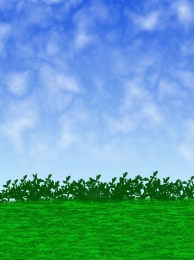 blue sky white clouds grass blue , Green Sky, Grass, Green ภาพพื้นหลัง