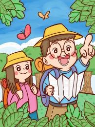 nền xanh phim hoạt hình du lịch boy girl , Thiết, Minh Họa, Vẽ Ảnh nền