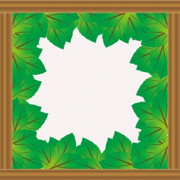 border pattern made of wood and green leaves against white background , Background, Business Card, Wood Background image