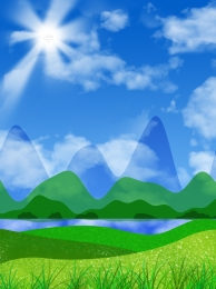 cartoon green blue sky grass , Rainbow, Cartoon, Green Field ภาพพื้นหลัง