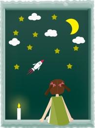 卡通版 卡通元素 小女孩 夜晚 , 可愛, 卡通版可愛小女孩夜晚看星星靜謐廣告背景, 卡通元素 背景圖片