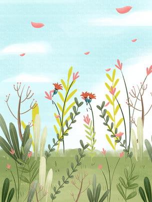 botanical floral background universal background hand drawn background landscape background , Landscape Background, Hand Drawn Background, Small Imagem de fundo