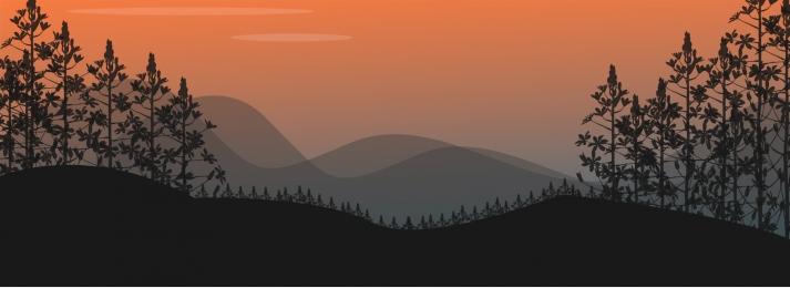 शाम जंगल पेड़ पहाड़, खींचा, जंगल, की पृष्ठभूमि छवि