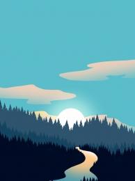 forest silhouette forest landscape fashion gradient forest , Silhouette, Fashion Gradient, Forest Silhouette Фоновый рисунок