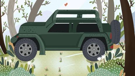 自動運転ツアー 車 春のツアー 旅行, 車, 背景イラスト, 背景パネル 背景画像