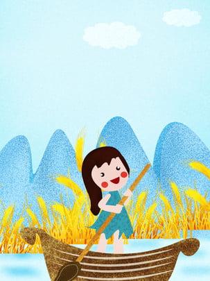पक्षी लड़की नौका विहार गेहूं का मैदान , ताजा, गेहूं का मैदान, घोंटना पृष्ठभूमि छवि
