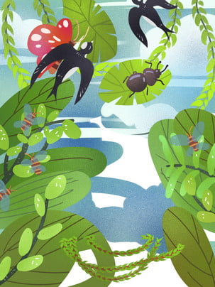 swallow spring spring wicker , Hand Drawn Background, Swallow, Green ภาพพื้นหลัง