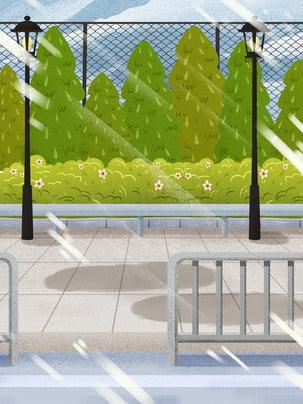 morning run series park hoa đèn đường mùa xuân , Tươi, Viên, Thiết Kế Nền Ảnh nền