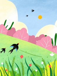 swallow flowers spring spring , Grass, Swallow, Advertising Background ภาพพื้นหลัง
