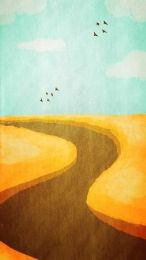 golden wheat field plant cartoon , Creative, Decorative, Wheat Field Фоновый рисунок