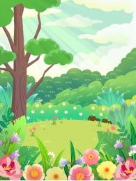 シーンイラスト背景 手描きの背景 森の背景 森の背景 , 葉の背景, グリーン漫画イラスト森の背景デザイン, 森の背景 背景画像