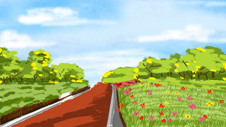 Hand drawn green trial forest path landscape illustration background, Warm Background, Beautiful Background, Creative Background Background image