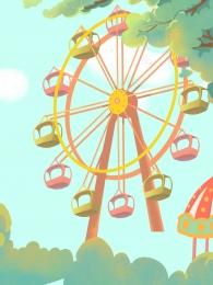 ferris wheel park amusement park playground , Hand Drawn Background, Park, Promotional Background Imagem de fundo