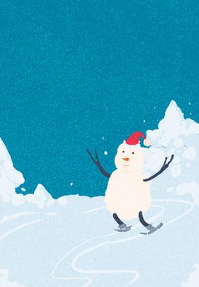 snowflakes snow snowman winter solstice material , Small, Fresh, Snowman Imagem de fundo