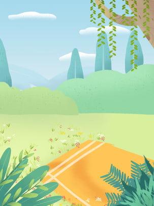 picnic wicker spring outdoors , Background Design, Background Illustration, Hand Drawn Background ภาพพื้นหลัง