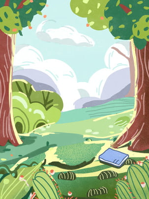 spring spring tour outdoor grove , Spring Green, Drawn, Background Illustration ภาพพื้นหลัง
