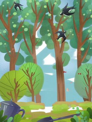 spring spring swallow grove , Drawn, Generic Background, Background Background ภาพพื้นหลัง