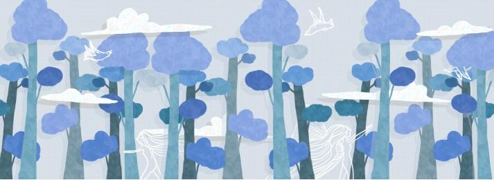 hand painted blue forest dreamland, Peri, Forest, Dreamland imej latar belakang