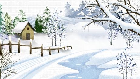 winter snow hut fence, Winter, Drawn, Promotional Background Фоновый рисунок