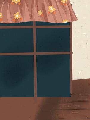 छोटे फूल भूरे खिड़की सरल , पृष्ठभूमि डिजाइन, चित्रित, पृष्ठभूमि पृष्ठभूमि छवि