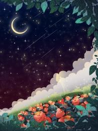 तारों से आकाश पृष्ठभूमि चंद्रमा काल्पनिक , डिजाइन, Psd पृष्ठभूमि, चंद्रमा पृष्ठभूमि छवि