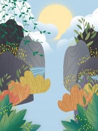 山川 春 枝編み細工品 緑の葉 , 手描きの新鮮な山川背景デザイン, 鮮度, 背景 背景画像