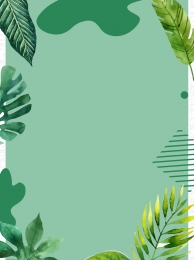 hand drawn spring green leaves border green background , Painted, Color, Hand ภาพพื้นหลัง