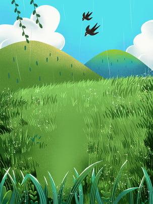 swallow grass spring spring , Spring, Grass, Hand ภาพพื้นหลัง