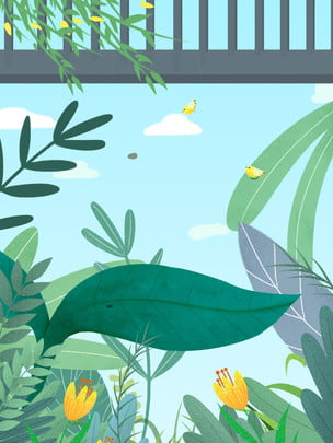 少し黄色の頭蓋骨こんにちは 緑の背景 春の背景 植物の背景 psdの背景 背景パネル 漫画の背景 手描きの背景 小さな黄色の頭蓋骨こんにちは緑春植物イラスト背景 , 少し黄色の頭蓋骨こんにちは, 緑の背景, 春の背景 背景画像