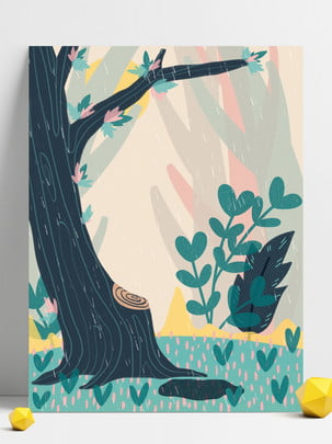 北歐 植物 樹林 卡通 , 創意, 樹林, 北歐 背景圖片