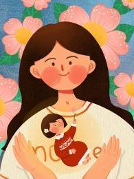 復古 母親節 母女 插畫 , 原創復古母親節母女原創背景設計, 原創, 母女 背景圖片