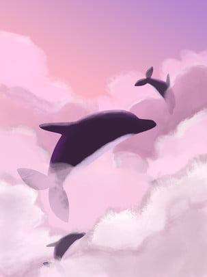 原創 水彩風 浪漫 唯美 , 粉紫背景, 唯美, 最終幻想 背景圖片