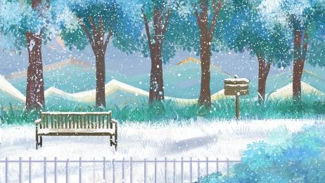 snow winter winter bench, Winter, Universal Background, Snow Фоновый рисунок