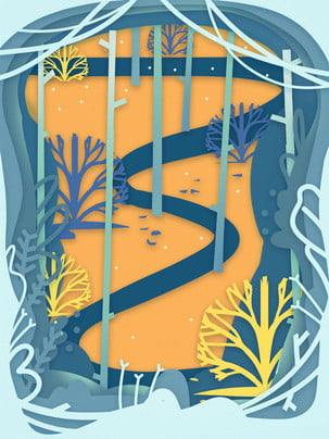 紙カットの背景 春 木立 青 背景の背景 紙カット風の背景デザイン 紙カットの背景 背景画像