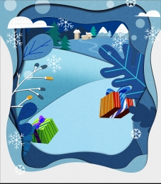 gift snowflake christmas paper cut wind background , Paper-cut Wind Background, Gift, Cut Imagem de fundo