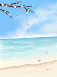 Pink peach sea H5 background material , Beautiful, Pink Peach, Sea Background image