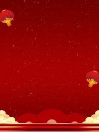 Lantern festive red happy new year Red Background Display Imagem Do Plano De Fundo