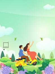 郊遊 玩耍 春季 花海 , 花園, 情侶, 郊遊 背景圖片
