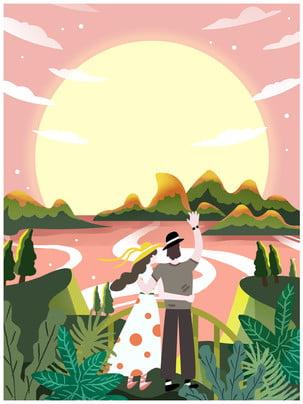 廣告背景 夕陽 度假 玩耍 , 陽光, 花園, 春季情侶外出玩耍廣告背景 背景圖片