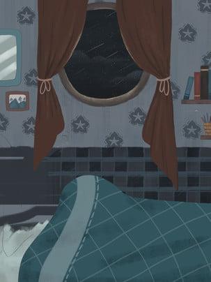 बेडरूम खिड़की तारों उल्का , बेडरूम, गई, पृष्ठभूमि पृष्ठभूमि छवि