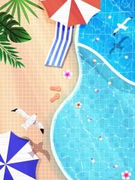 summer summer pool fresh background , Psd Background, Hand Drawn Background, Summer Фоновый рисунок