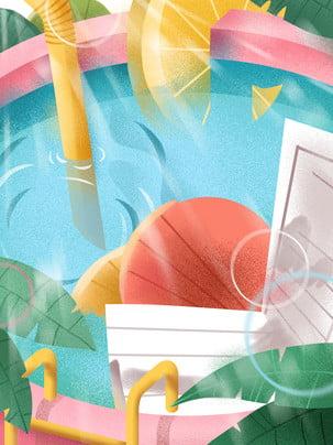 summer swimming pool green leaves advertising background , Pool, Background Panels, Design Фоновый рисунок