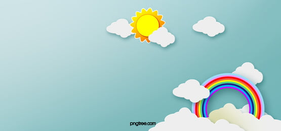 Rainbow Clouds Background Banner Cartoon Sun, Cartoon, Sun, Rainbow, Background image