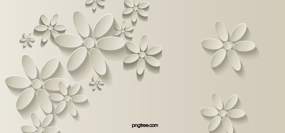 White 3d Stereoscopic Flower Background Banner, White, 3d, Dimensional, Background image