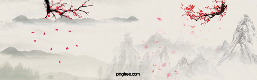 Chinese Landscape Painting Style Plum Background Banner, Chinese, Style, Plum, Background image