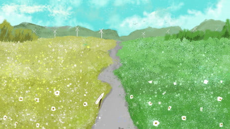 フィールド 田舎 景観 草原 背景, 空, アブラナ, 農場 背景画像