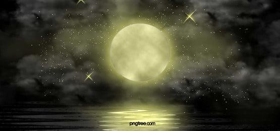 रात को आसमान, चाँद, रात, सितारों पृष्ठभूमि छवि