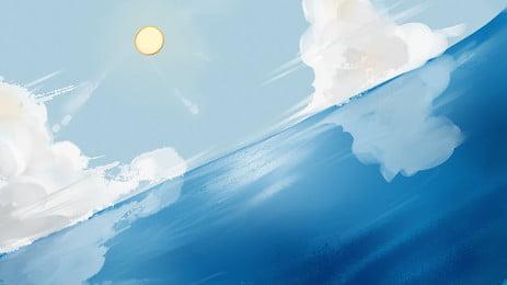 天空大海浪花背景, 浪花, 大海, 天空 背景圖片