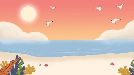唯美と海の夕日の撮影風景のポスターの背景図, 唯美の海の砂浜の撮影風景の背景図, 海报バナー, ロマンチック 背景画像