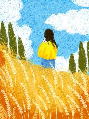 麦畑の中で走る小さい女の子の背景図 , 麦畑, 走る, 小さい女の子 背景画像